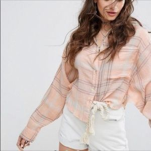 Free People Cutie Plaid Dolman Batwing Button Top